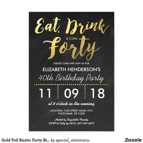 Gold Foil Rustic Forty Birthday Party