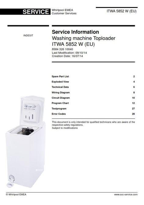 Indesit ITWA 5852 W (EU) Washing Machine Service Manual   Washing machine  service, Washing machine, Circuit diagramPinterest