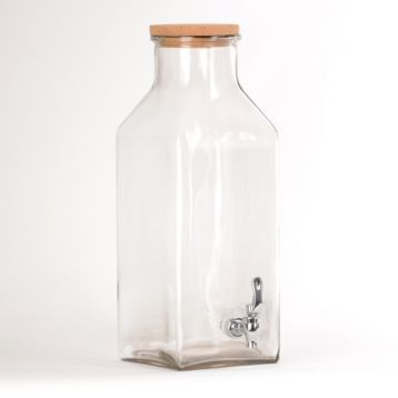 A terrific farmhouse accent, this self-serve glass bottle beverage dispenser is great for gatherings! Just fill it with your favorite drink and serve! #kirklands #FrenchCountryDining #Beveragedispenser