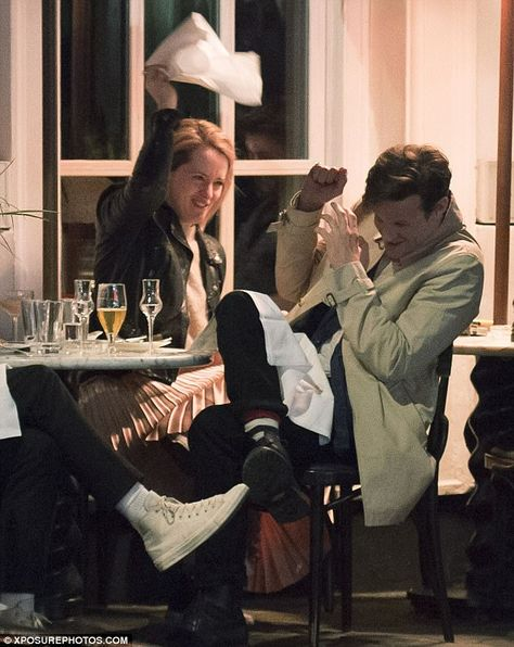 Playful: Claire Foy and Matt Smith proved they are just as close friends off-screen on Friday, as they headed for dinner together in London