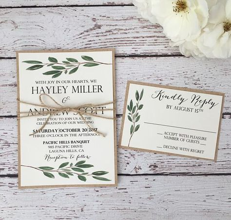 Greenery wedding invitation, rustic greenery invitation, botanic invitation, olive leaf rustic invitation, watercolor greenery invite -   - #botanic #greenery #invitation #invite #Leaf #olive #romanticweddings #rustic #Watercolor #wedding #weddingideas #weddinginvitations