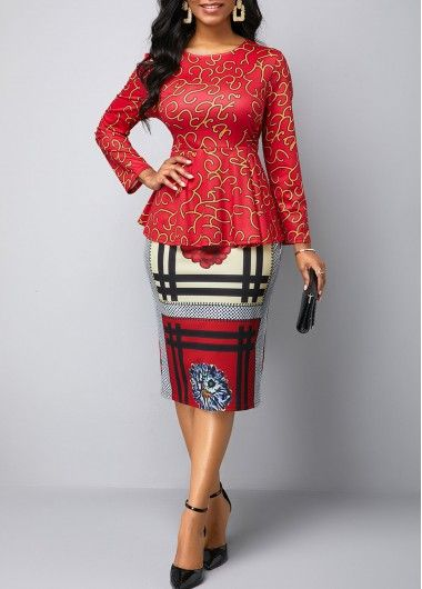 Party Dresses For Women Long Sleeve Floral Print Red Midi Dress Red Long Sleeve Midi Dress Fashion Fashion Dresses Online
