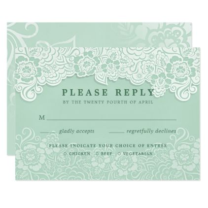Floral Lace Mint Green Rsvp With Entrees Zazzle Com