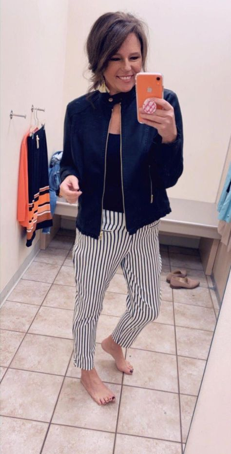 I am loving these striped ankle pants with the black moto jacket! See more of the Try On Haul here! #fashionover40 #womensfashion #over40 #over50 #over40style #over50style #ootd #tryonhaul #outfitideas #spring #casualstyle #springtrends #womensfashion40yearoldcasual #fashiontrendsforwomenover50pencilskirts