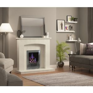 Be Modern Midland Manila Fire surround. A Micro marble surround set is the classic choice to enhance the look of your home. Comprising of  surround  back panel and hearth  simply choose your gas or electric fire to complement the overall look..  Fire surround by Be Modern