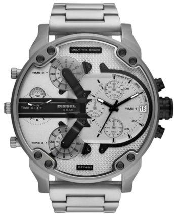 Diesel Men's Chronograph Mr. Daddy 2.0 Stainless Steel Bracelet Watch 57mm - Silver