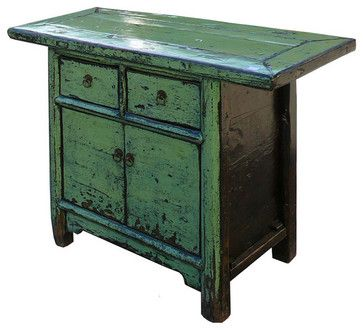 Green Crystal Lacquer Solid Elm Wood Side Table Storage Cabinet
