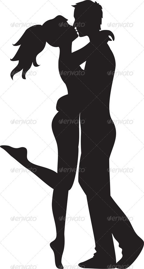 kissing silhouette images to print | Silhouette of couple. Woman and man kissing.EPS 8 Vector illustrations ...