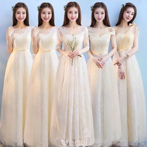 138228b12 Discount Champagne Bridesmaid Dresses 2018 A-Line   Princess Appliques Lace  Bow Sash Floor-Length   Long Ruffle Backless Wedding Party Dresses