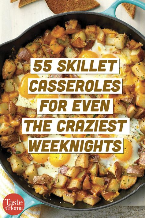 55 Skillet Casseroles for Even the Craziest Weeknights - - We've rounded up our speediest skillet casserole recipes—from super cheesy to veggie packed—that are sure to please your whole crew. Every single one of these dinners takes 30 minutes or less. Electric Skillet Recipes, Iron Skillet Recipes, Cast Iron Recipes, Oven Recipes, Cooking Recipes, Healthy Recipes, One Skillet Recipe, Recipies, Cheap Recipes