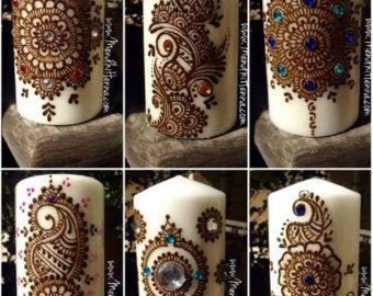 Mehndi For Candles : Henna candle mehndi design decor