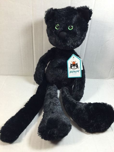 Jellycat Casper Cat Plush Black Stuffed Animal Soft Toy Kitty Green Eyes Floppy #jellycat