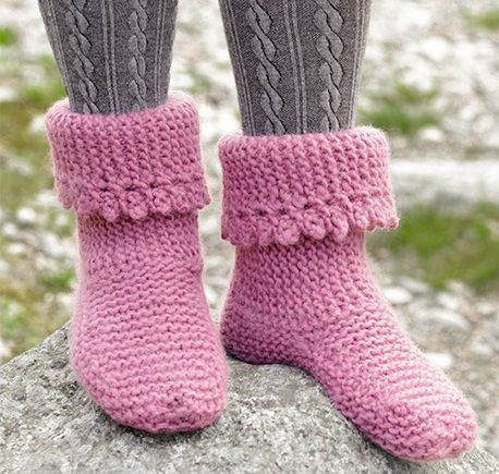 eb0eb46e6 Over Free Knitting Patterns for Slippers to Keep Your Feet Toasty! Knitted  slippers with garter stitch and picot edge free pattern