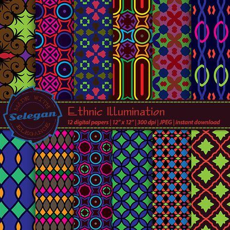 Aztec Bright Pattern Printed Heat Transfer Vinyl Style B - 12 x 12