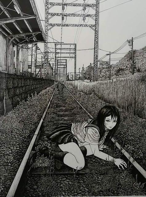 Arte Horror, Horror Art, Aesthetic Art, Aesthetic Anime, Manga Art, Anime Art, Dark Art Paintings, Arte Indie, Japanese Horror