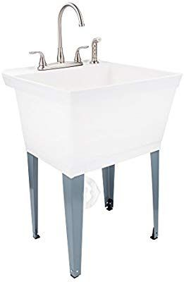 19 Gallon Laundry Utility Tub By Maya Thermoplastic Basin Adjustable Metal Legs Heavy Duty Lead Free Metal Faucet Laundry Tubs Utility Room Sinks White Tub