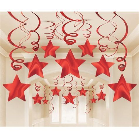 Pack 30 Hanging Red Stars Pack 30 Estrellas Rojas Colgantes Pack 30 Hanging Red Stars P In 2020 Christmas Ceiling Decorations Christmas Decor Diy Christmas Diy