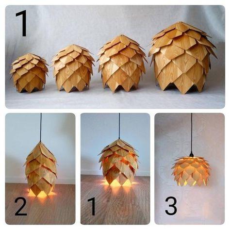 Wood Pendant Lightwood lampshadepine cone pendant light
