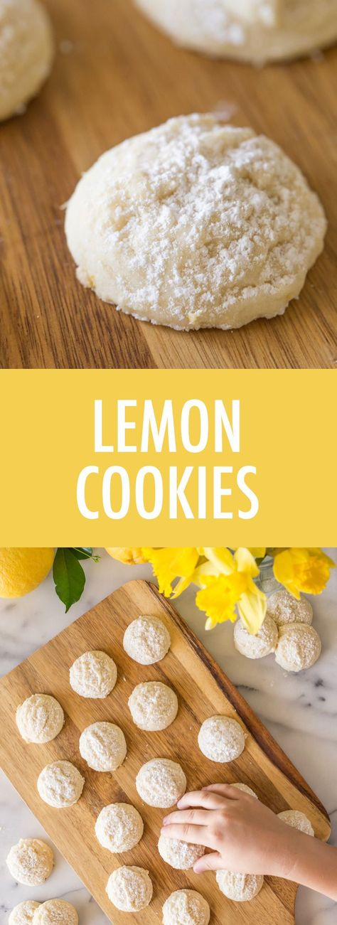 These Lemon Cookies are simple to make, buttery, sweet and tart all in one. They are like little bites of sugary sunshine! #lemoncookies #dessert #lemon #cookies #sweetandtart
