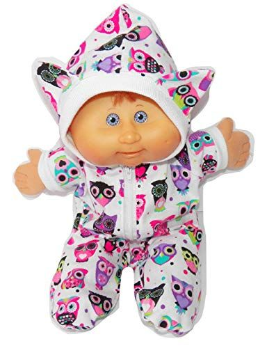Cabbage Patch Doll Clothes Fits 14 Inch Doll or Preemie Sleepers Blue or Pink Pajamas Hooded Romper No Doll