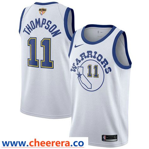 060185915ca Nike Warriors  11 Klay Thompson White Throwback The Finals Patch NBA  Swingman Hardwood Classics Jersey