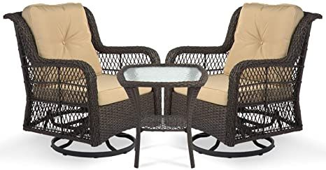 Amazon Com Aoxun 3 Piece Rocking Rattan Chair Outdoor Patio Bistro Furniture Sets 2 Cushioned Swivel Wicker Cha Outdoor Chairs Bistro Furniture Rattan Chair