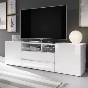 Meuble Tv Meuble De Salon Bros 137 Cm Blanc Mat Blanc Brillant Sans Led 2 Niches Ouvertes 4 Compartiments Fermes Meuble Meuble Salon Meuble Tv