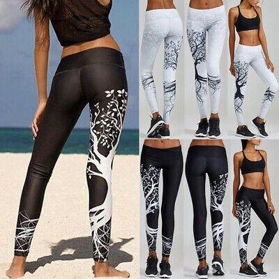 Womens High Waist Sports Yoga Pants Print Fitness Gym Leggings Stretch Trousers
