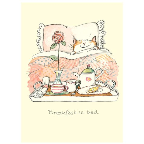"""Breakfast In Bed card Gifts and Greeting cards for cat lovers, mugs and cards. Anita Jeram illustrated """"Guess How Much I Love You"""""""