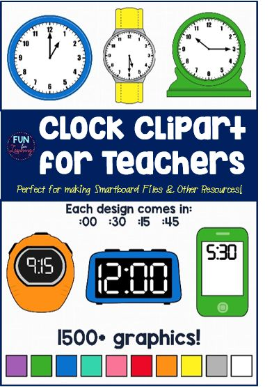 Clipart For Digital And Analog Clocks 6 Different Styles Each In