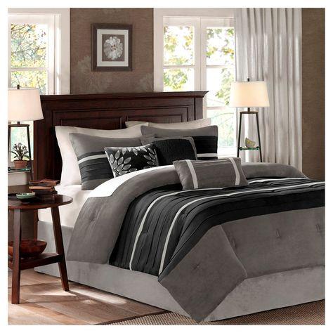Black Gray Dakota Microsuede Comforter Set California King 7pc 7pc Comforter Sets Remodel Bedroom Luxury Bedding