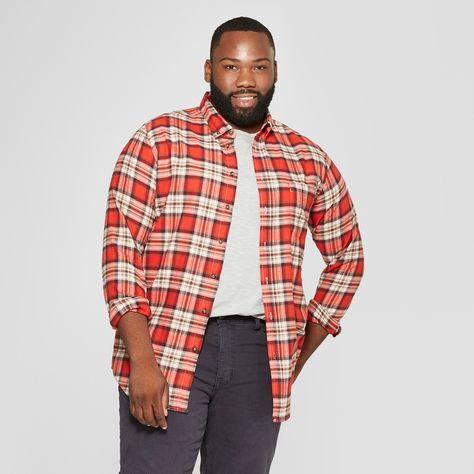 c820f67353e3 Men s Tall Plaid Standard Fit Long Sleeve Pocket Flannel Button-Down Shirt  - Goodfellow   Co Orange MT