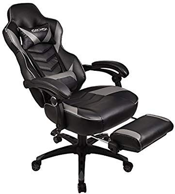 Amazon Com Ergonomic Computer Gaming Office Chair Large Size Pu Leather High Back Racing Widen Thicken Seat Retractable Footre Foot Rest Chair Lumbar Support