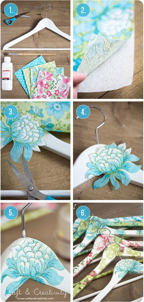 DIY ~~  Decoupaged clothes hangers - using paper napkins & glue.  Scroll down for tutorial in English.