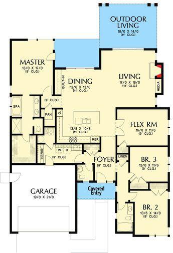Plan 69630am Northwest House Plan With Flex Room House Plans Flex Room Best House Plans