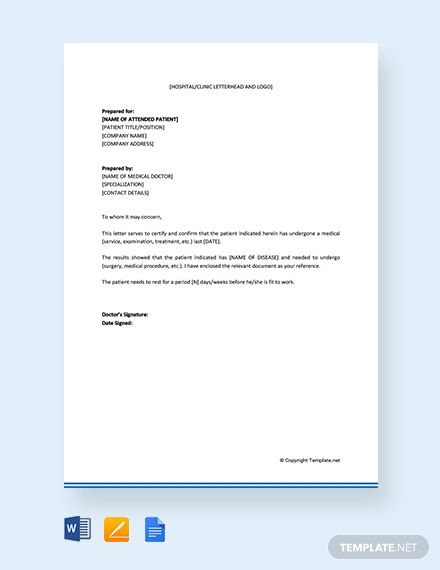 Free Medical Certificate Letter From Doctor Free Medical