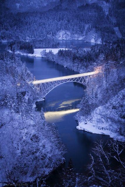 始発の只見線 第一橋梁 絶景 風景写真 風景