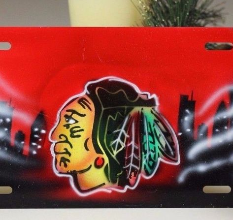 Frames Eagle Offset on Red Airbrush License Plate