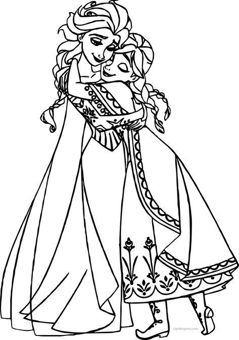Karlar Ulkesi Frozen Sarilma Boyama Sayfasi Wallpaper 2020 Boyama Sayfalari Frozen Prenses