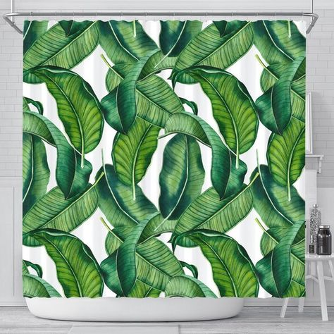 Tropical Leaves Shower Curtain Tropical Bathroom Decor Tropical Shower Curtain Palm Lea Tropical Shower Curtains Tropical Bathroom Decor Tropical Showers