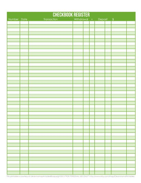 Checkbook Register  Freebie Printable I Love These For My Budget