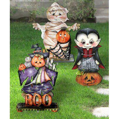 The Holiday Aisle Halloween Frightfully Festive Garden / Porch Walk Way Set With Metal Stakes - Yard Art Set