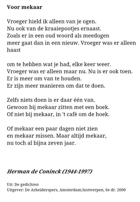 Voor Mekaar Herman De Coninck Citaten Woorden Mooie