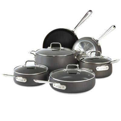 All Clad All Clad Ha1 10 Piece Hard Anodized Aluminum Non Stick Cookware Set Induction Cookware Cookware Set Best Non Stick Cookware