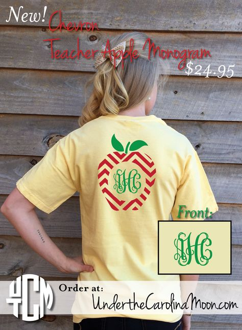 Preppy Monogram Chevron Apple t-shirt is a must have for the teachers on your list.  Available online at www.underthecarolinamoon.com