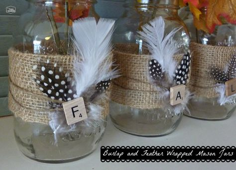Burlap and Feather Wrapped Mason Jars for Late Fall Mantel at thehappyhousie