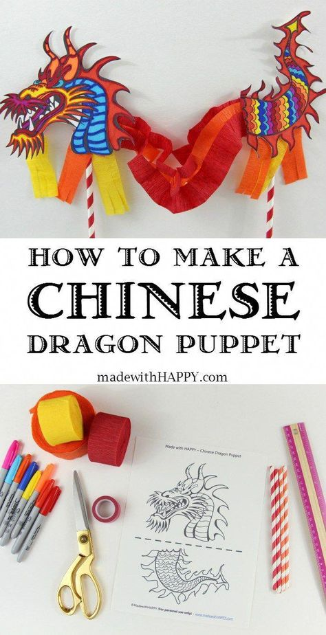 Chinese Dragon Puppet - Kids Craft with Printable Dragon Template