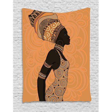 Turban African Black Woman Tapestry Wall Hanging Living Room Bedroom Dorm Decor