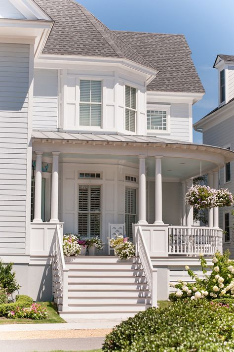 Beach House With Timeless Exterior Architectural Details Paint Color Is Duron Tudor Ice