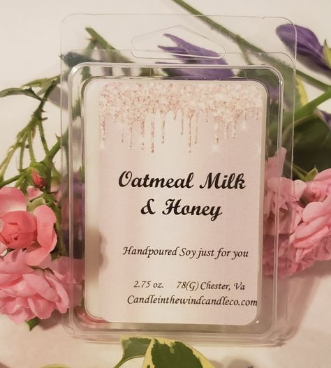 Oatmeal Milk & Honey: Soothing, warm oatmeal with a sugary note of fresh honey and light almond. Soy wax is eco-friendly and renewable, American grown, carbon neutral and Vegan. 2.75 oz. Soy Wax Melt Clamshell Burn Time: 20- 25 hours Warning: To prevent fire or injury: Remove packaging before use. Use only in tea-light warmers or UL listed electric warmers approved for wax melts. Read and follow all instructions provided with your warmer before use. Do NOT leave melter unattended while in us